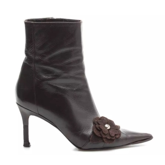 9cba3c4ead03 CHANEL Shoes | 425 Leather Camellia Flower Ankle Boots | Poshmark